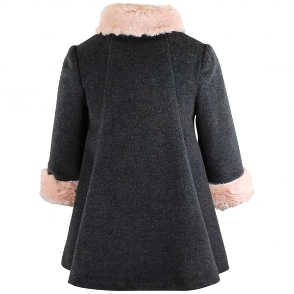 Bimbalo Faux Pink Fur Collar & Cuffs Wool Coat