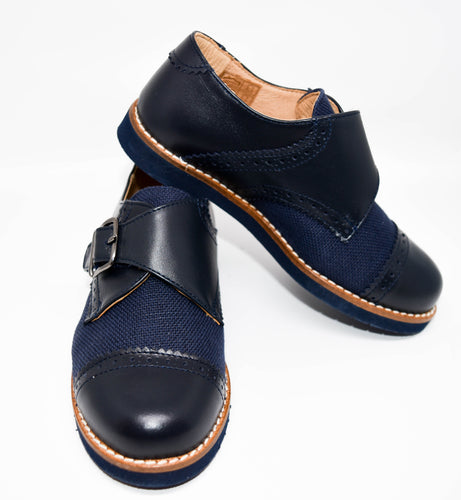 Gux's Boy Linen & Leather Shoes with Velcro Navy