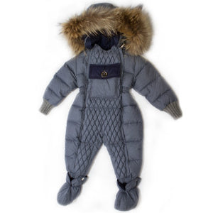 Canzitex Grey Down Padded Boy Snowsuit 6m