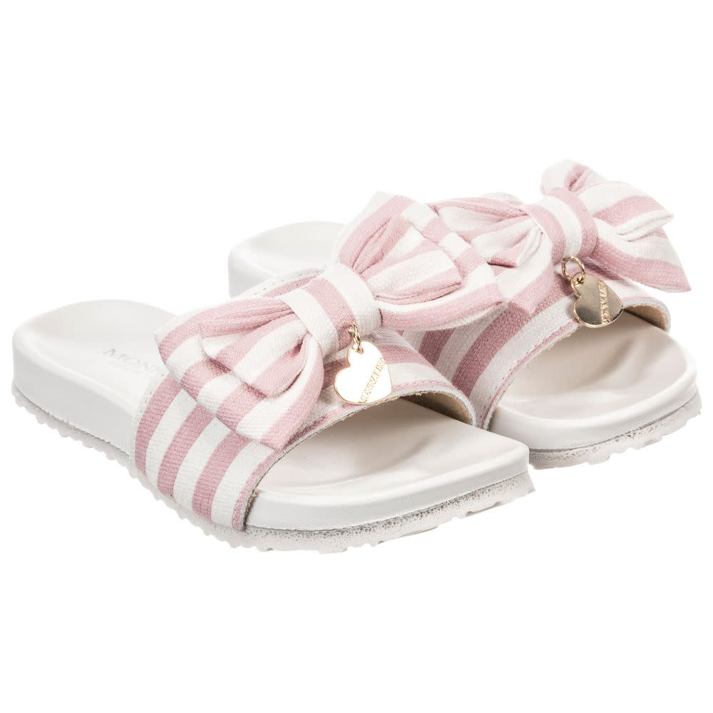 Monnalisa Stripped Bow Sliders