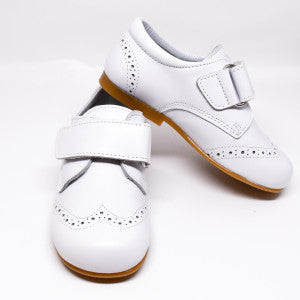 Geppetto's Boy White Leather Strap Shoes