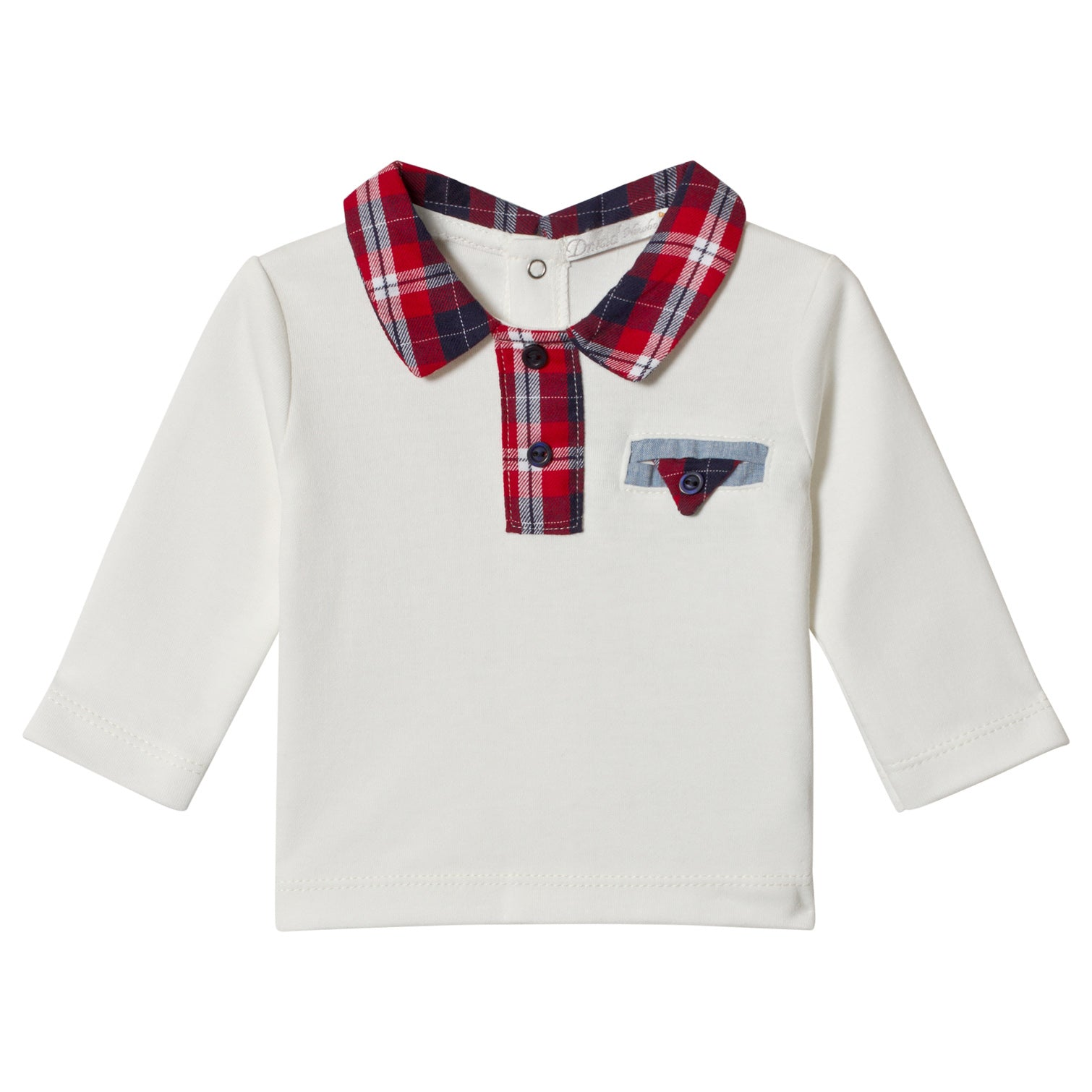 Dr. Kid Boys Red & Blue Tartan Collar Jersey Shirt