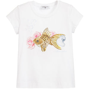 MONNALISA Girls White Diamanté T-Shirt