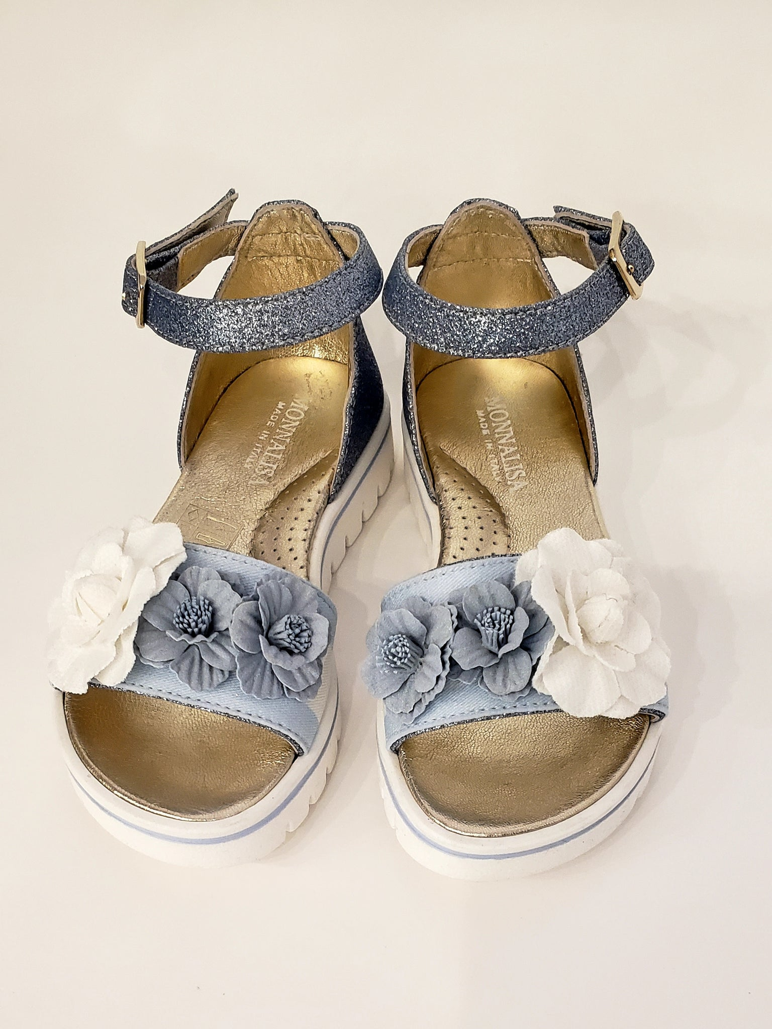 Monnalisa Flower Applique Glitter Sandals