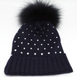 Bimbalo Hat with Fur and Crystals Navy