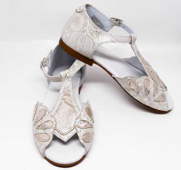 Gux's Girl Gold T-Strap Brocade Sandals