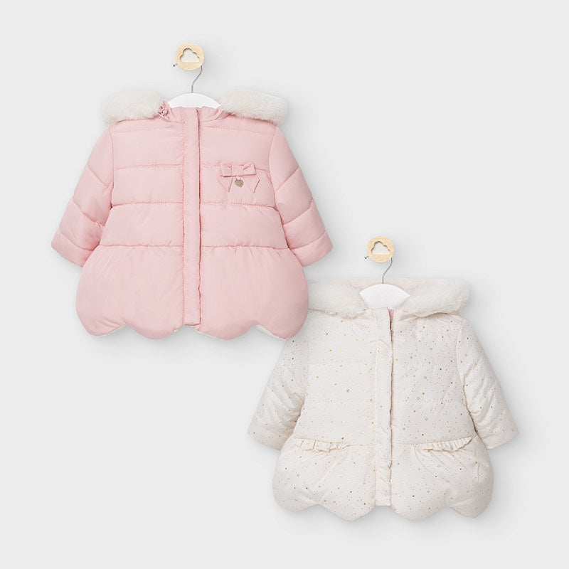 Mayoral Baby Reversible Coat Pink and White