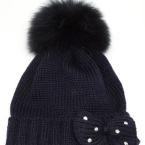 Bimbalo Hat with Real Fur Navy