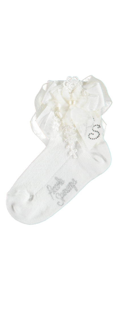 Piccola Speranza Ivory Socks with Satin Pearl Bow