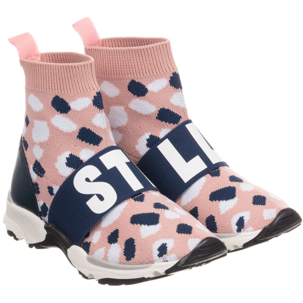 Stella McCartney Kids Girls Pink Camo Sock Trainers