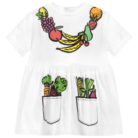 Stella McCartney Kids Girls White Cotton Fruit Dress