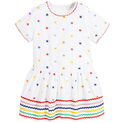 Stella McCartney Kids White Organic Cotton Star Dress