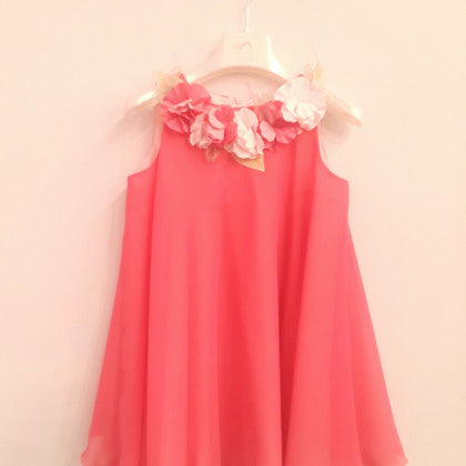 GattiMatti Flower Necklace Tent Dress Coral Pink