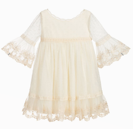 Abel & Lula Off-White Embroidered Tulle Dress