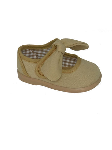 Gepo Tan Canvas Girls  Shoes