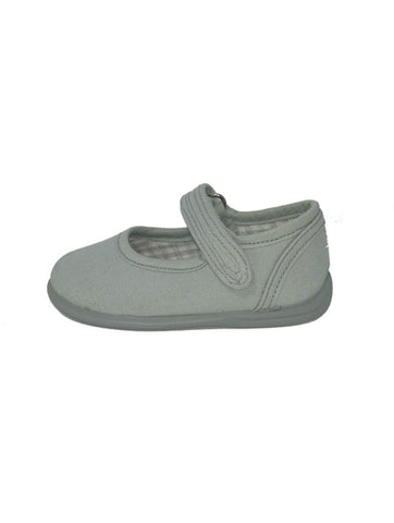 Gepo Light Grey Canvas Mary Janes