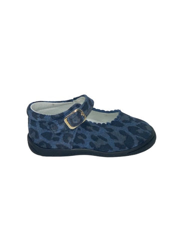 Geppettos Dark Blue Cheetah Print Mary Janes