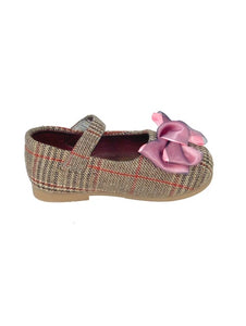 Woven Brown and Pink Mary Jane's with Bow