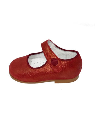 Geppettos Red Shimmer Mary Janes