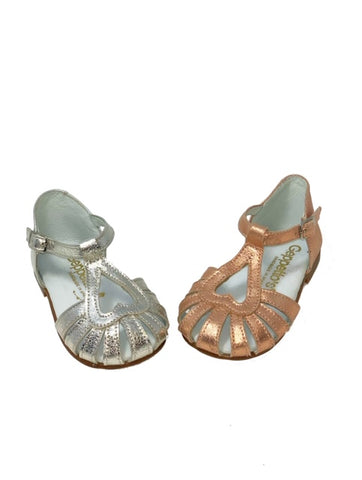 Geppetto Metallic Heart Shaped Sandal
