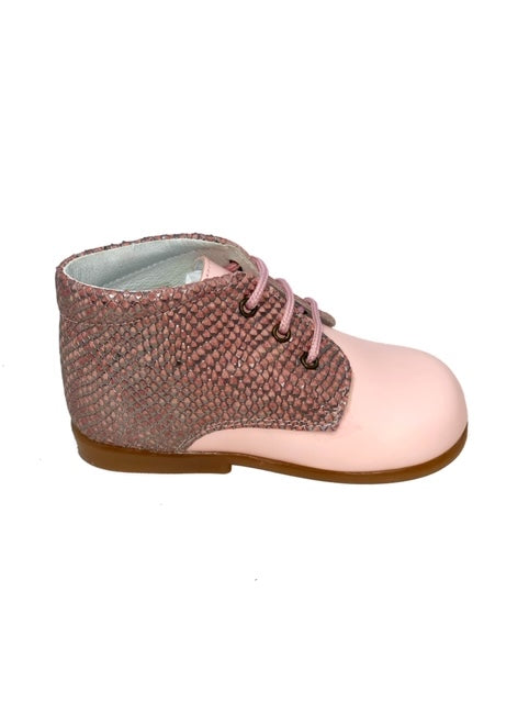 Geppetto Pink Snake Skin Booties