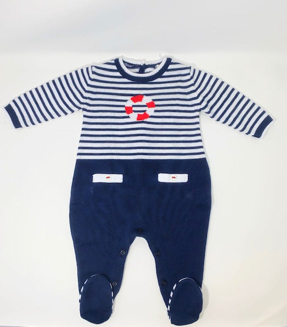 Dr. Kid Navy Striped Cotton Footie