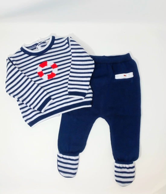 Dr. Kid Navy Striped Two-Piece Cotton Set