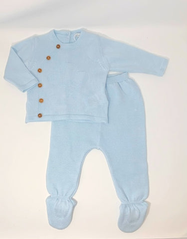 Dr. Kid Organic Baby Blue Cotton Footie Set