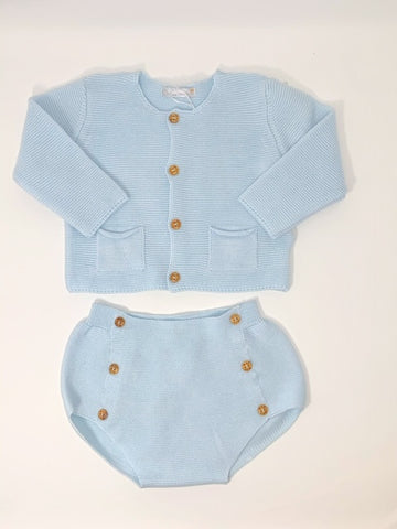 Dr. Kid Organic Baby Blue Cotton Cardigan Set