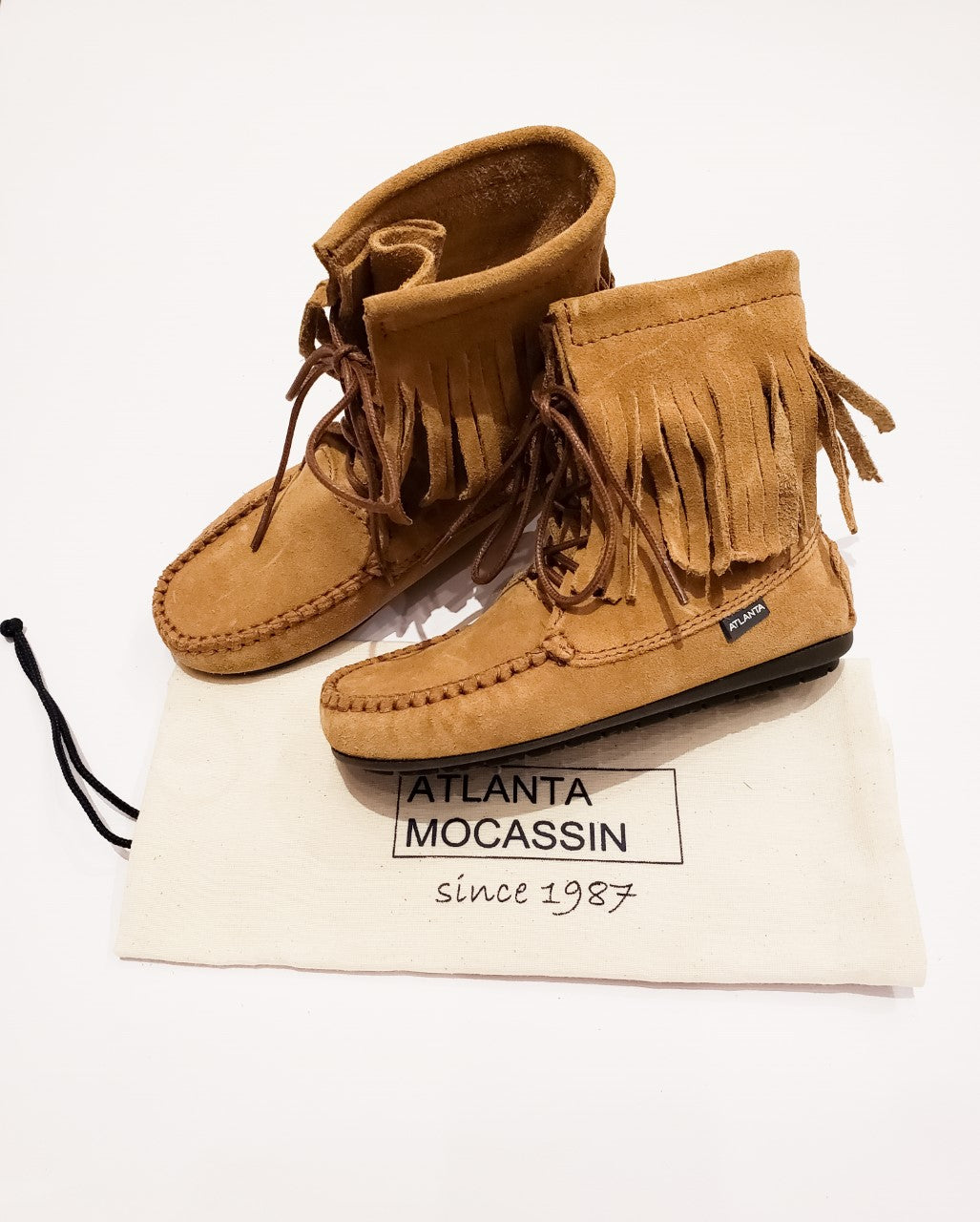 Atlanta Mocassin Brown Fringe Booties