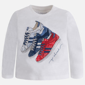 Mayoral Boy Long Sleeve T-shirt with Print - Sneakers White