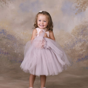 Lady&Lord Silk And Tulle Pink/Grey Girl Dress