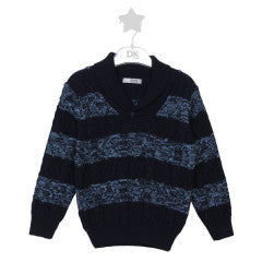 Dr. Kid Knit Boys Cable Stitch Striped Sweater