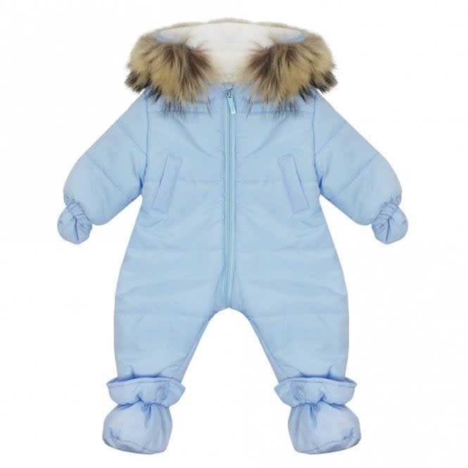 Bimbalo Baby Boy Snowsuit with Fur Hood Baby Blue