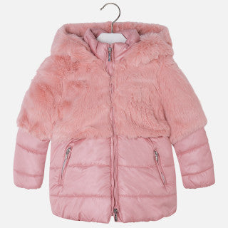Mayoral Girl Flat-Woven and Faux Fur Coat - Bubblegum