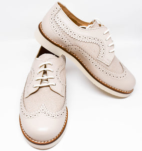 Gux's Boys Wingtip Linen & Leather Lace-up Oxford Shoes Ivory