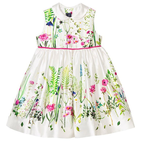 Oscar de la Renta Mikado Pinafore Dress White/Multi