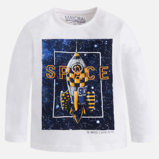 Mayoral Boy Long Sleeve T-shirt with Print - Space