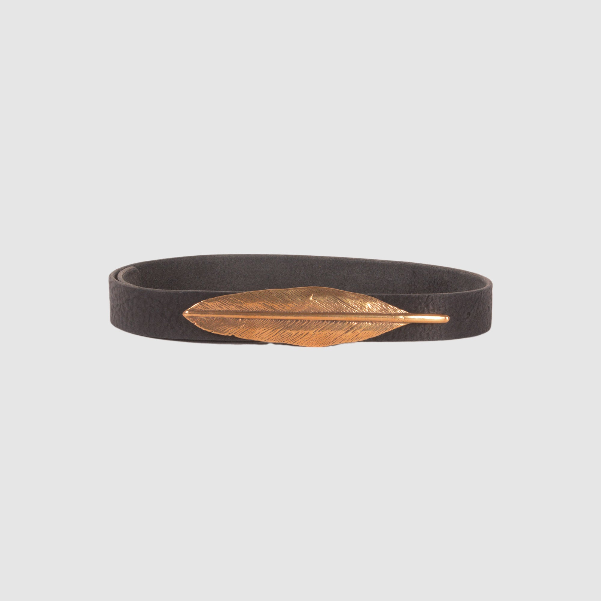 FEATHER BELT // BLACK // YELLOW BRONZE
