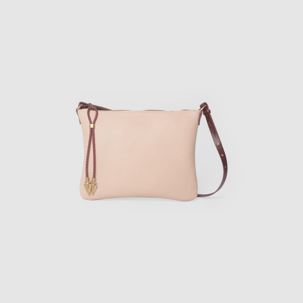BOLO ARROW PULL CLUTCH  //  NUDE AND SCARLETT