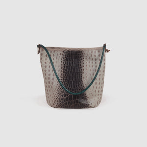 FAUX CROC BARREL BAG