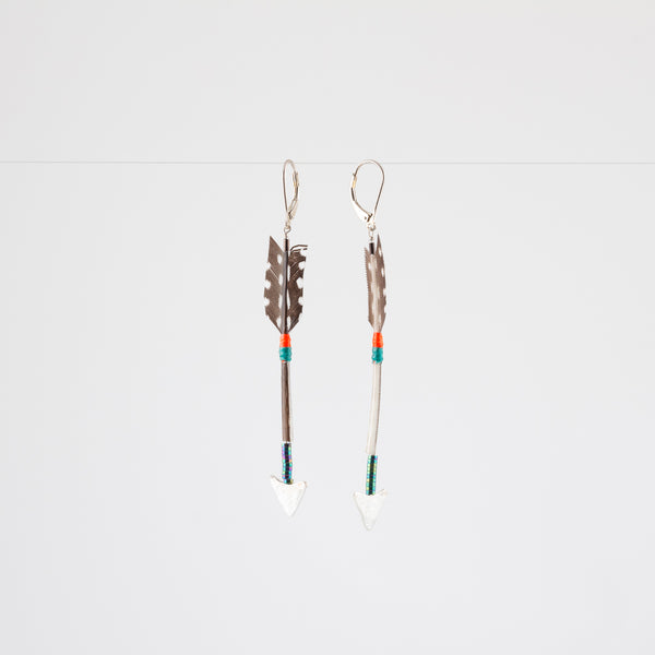 FEATHER ARROW EARRINGS // GUINEAFOWL // SILVER