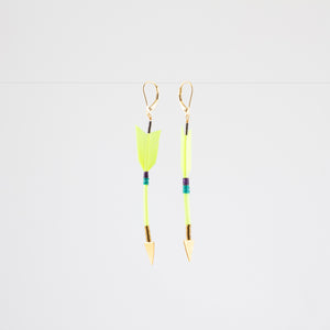 FEATHER ARROW EARRINGS // NEON YELLOW // VERMEIL