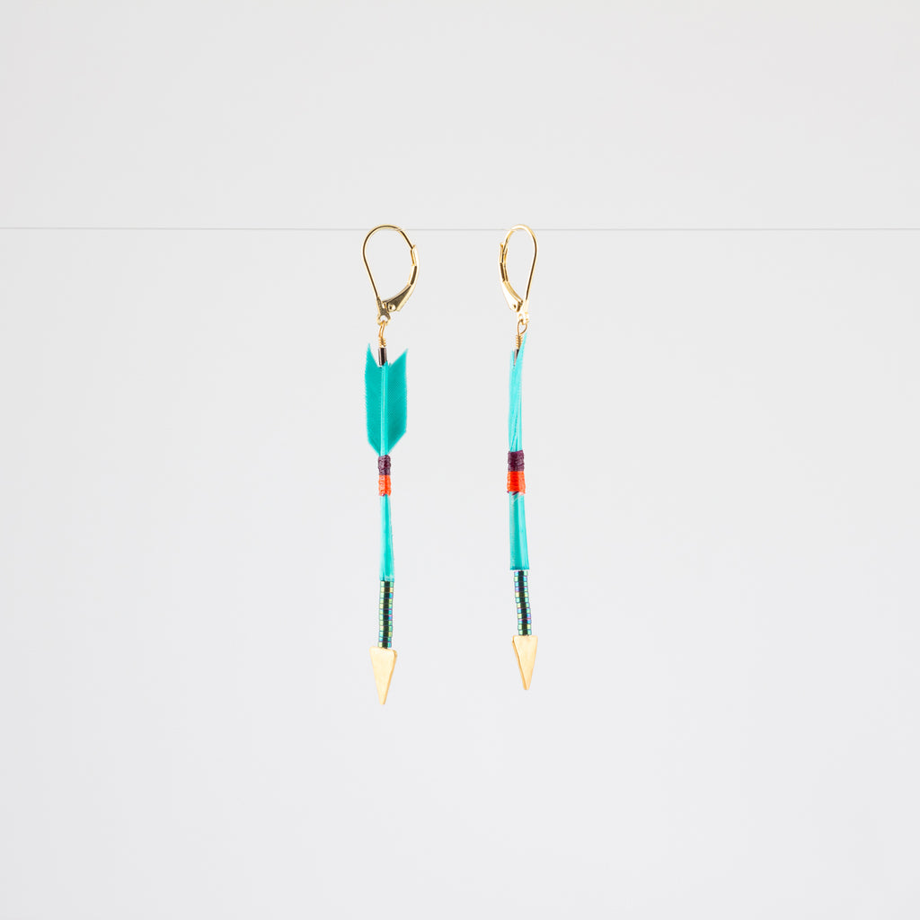 FEATHER ARROW EARRINGS // TURQUOISE // VERMEIL