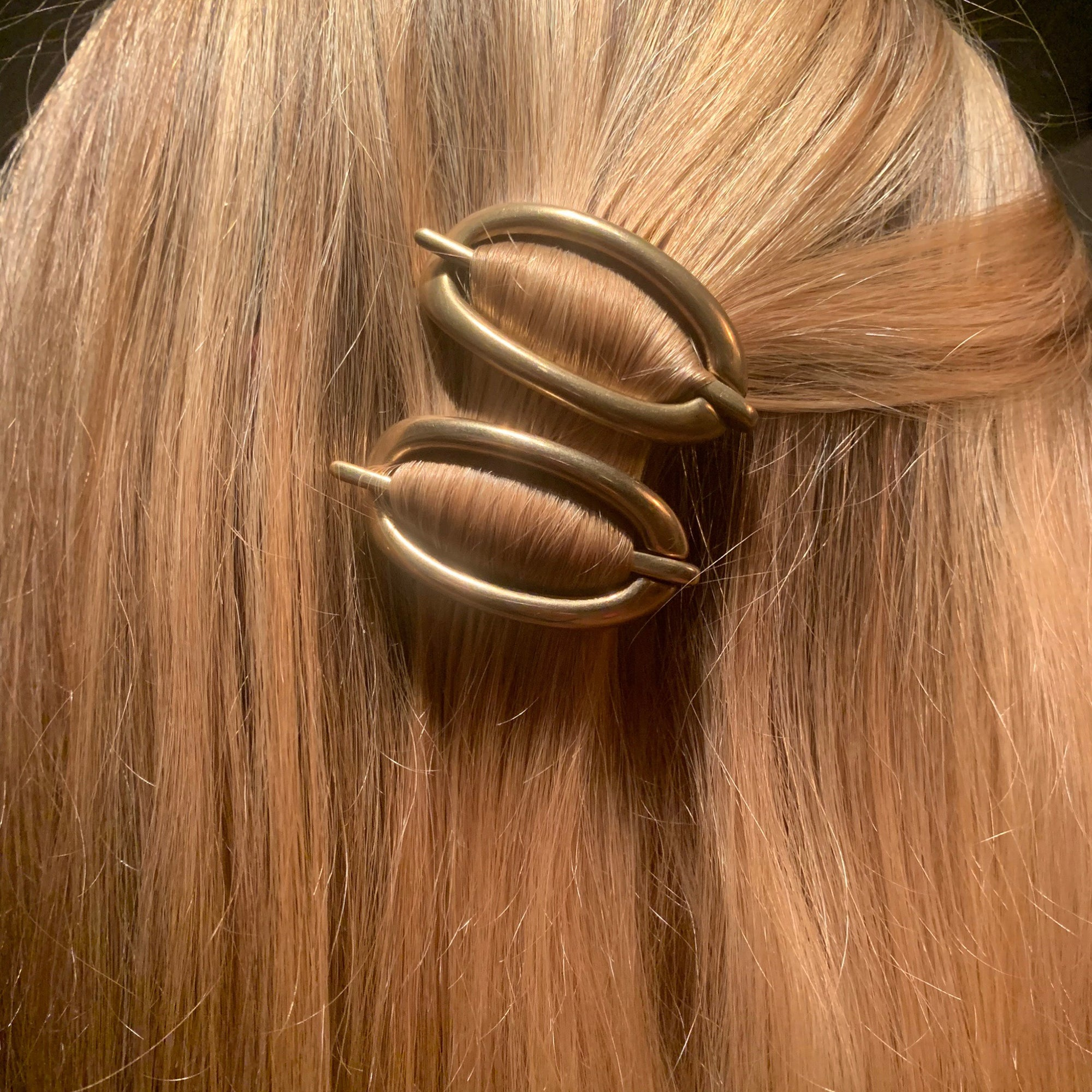 CLASSIC DANISH BARRETTE // PAIR // YELLOW BRONZE