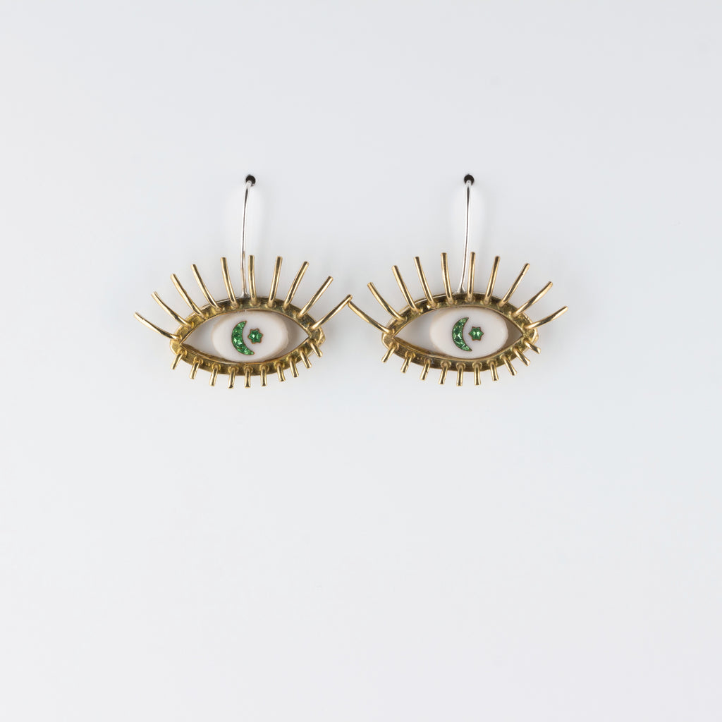 """20/20"" // BRONZE EARRINGS //  WHITE & GREEN INTAGLIO"