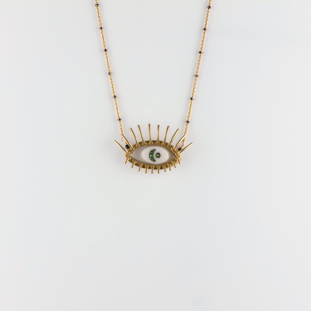 """20/20"" // VERMEIL NECKLACE // WHITE & GREEN INTAGLIO"