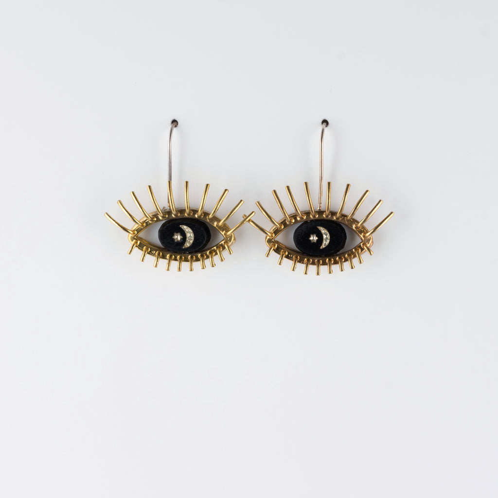 """20/20"" // BRONZE EARRINGS // BLACK & WHITE INTAGLIO"
