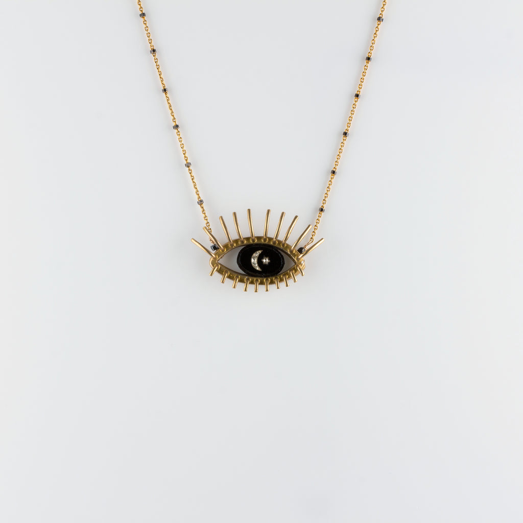 """20/20"" // VERMEIL NECKLACE // BLACK & WHITE INTAGLIO"
