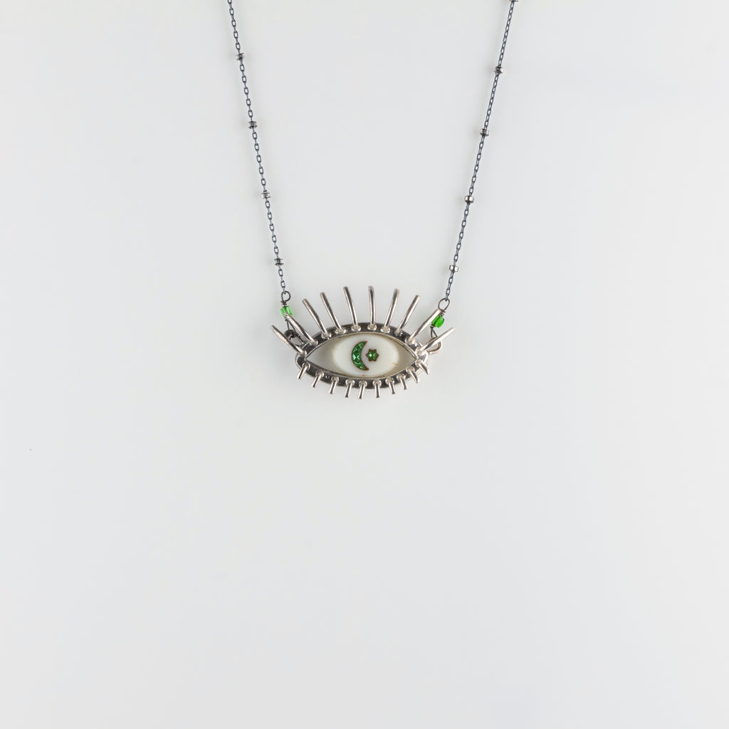 """20/20"" // SILVER NECKLACE // WHITE & GREEN INTAGLIO"